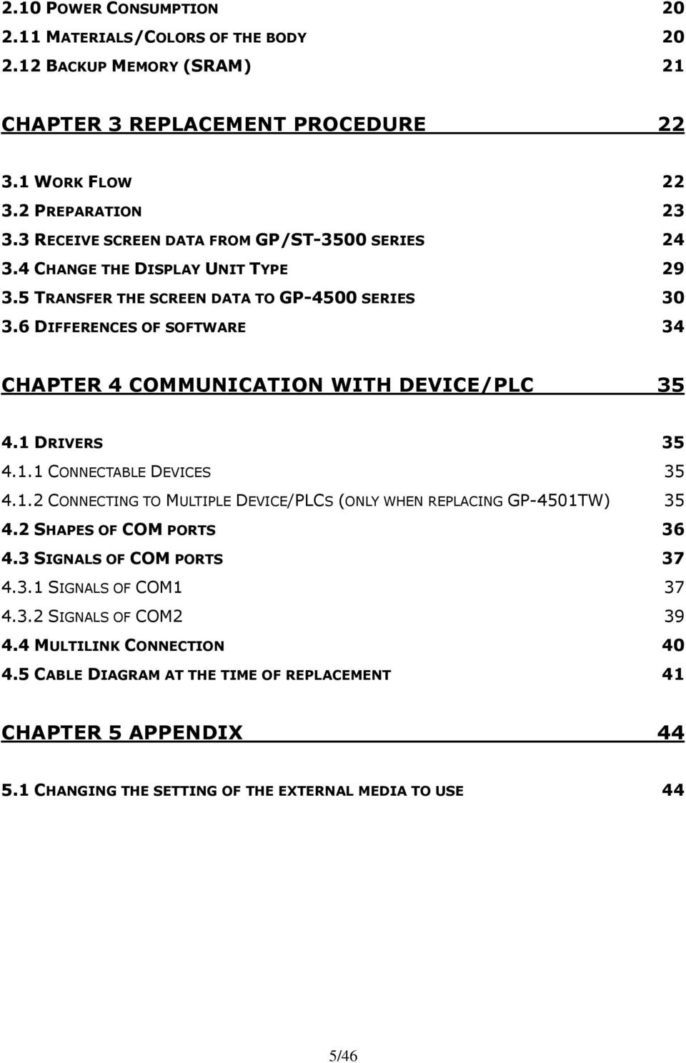 6 DIFFERENCES OF SOFTWARE 34 CHAPTER 4 COMMUNICATION WITH DEVICE/PLC 35 4.1 DRIVERS 35 4.1.1 CONNECTABLE DEVICES 35 4.1.2 CONNECTING TO MULTIPLE DEVICE/PLCS (ONLY WHEN REPLACING GP-4501TW) 35 4.