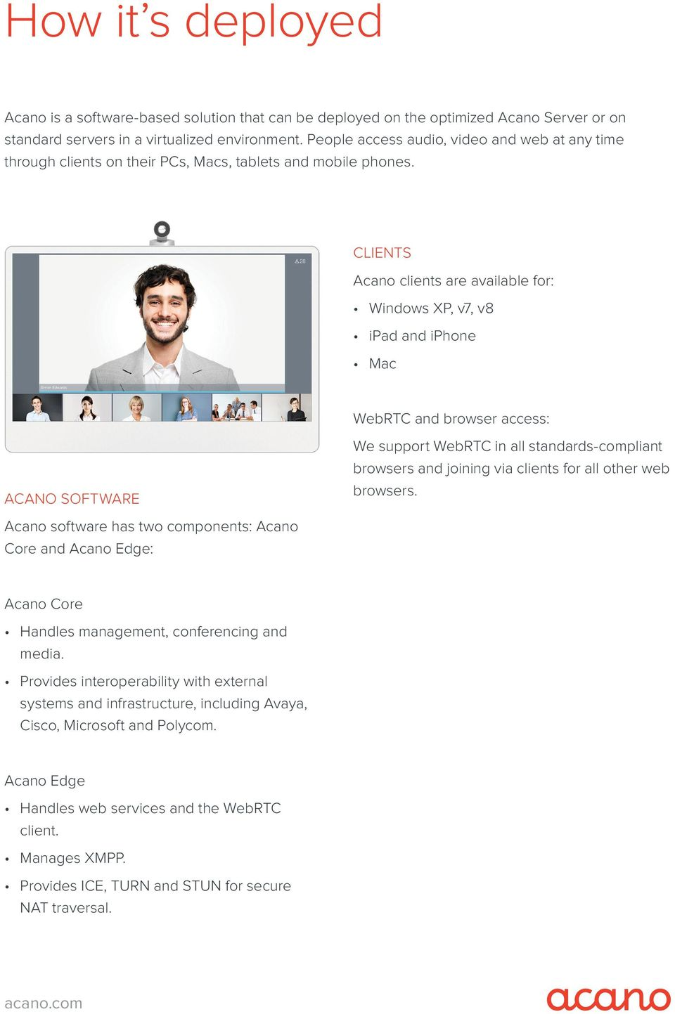 CLIENTS Acano clients are available for: Windows XP, v7, v8 ipad and iphone Mac WebRTC and browser access: ACANO SOFTWARE We support WebRTC in all standards-compliant browsers and joining via clients