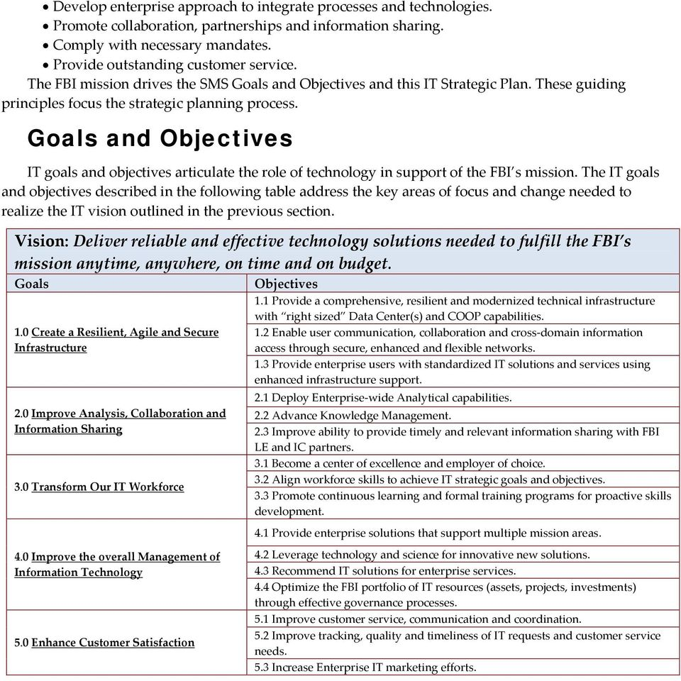 Goals and Objectives IT goals and objectives articulate the role of technology in support of the FBI s mission.