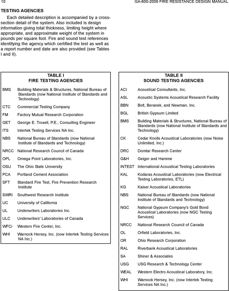 Fire and sound test references identifying the agency which certified the test as well as a report number and date are also provided (see Tables I and II).