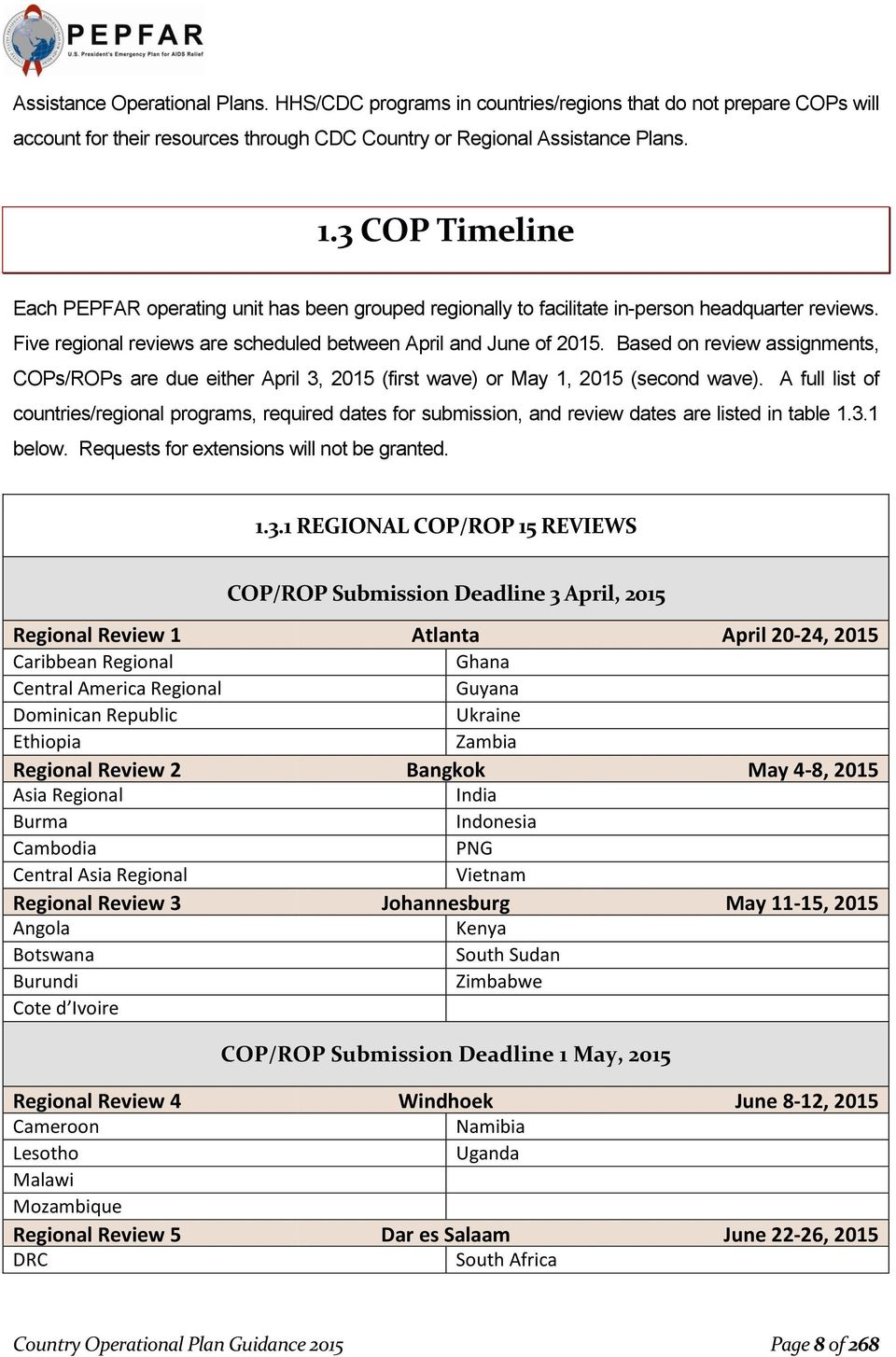 Based on review assignments, COPs/ROPs are due either April 3, 2015 (first wave) or May 1, 2015 (second wave).