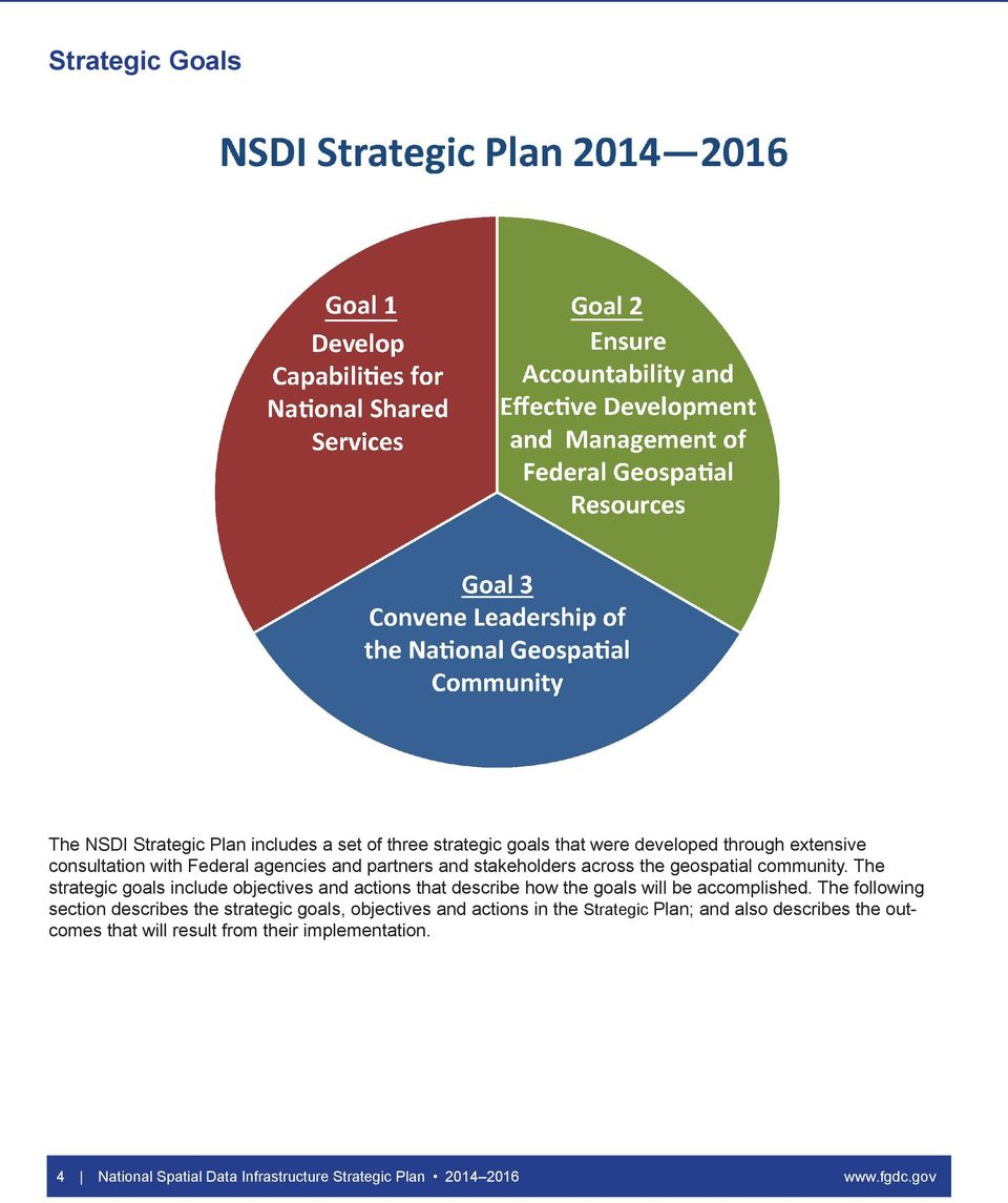 The strategic goals include objectives and actions that describe how the goals will be accomplished.