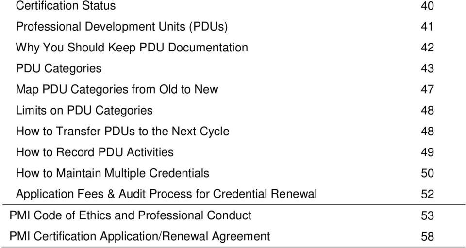 Cycle 48 How to Record PDU Activities 49 How to Maintain Multiple Credentials 50 Application Fees & Audit Process