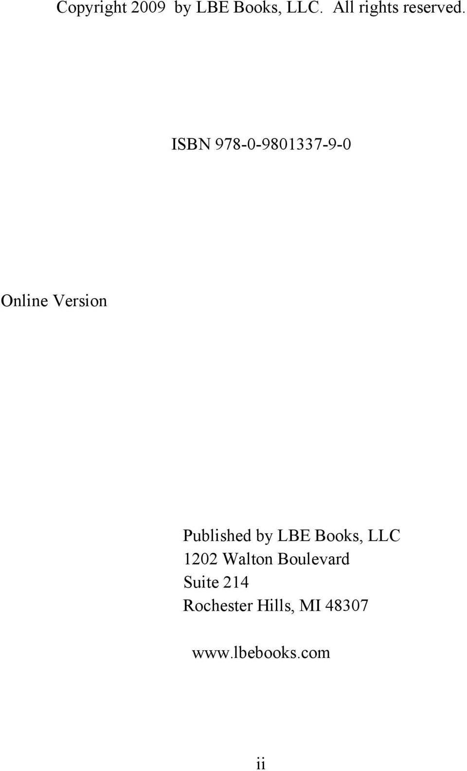 ISBN 978-0-9801337-9-0 Online Version Published