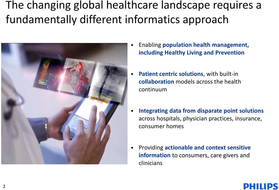 across the health continuum Integrating data from disparate point solutions across hospitals, physician practices,