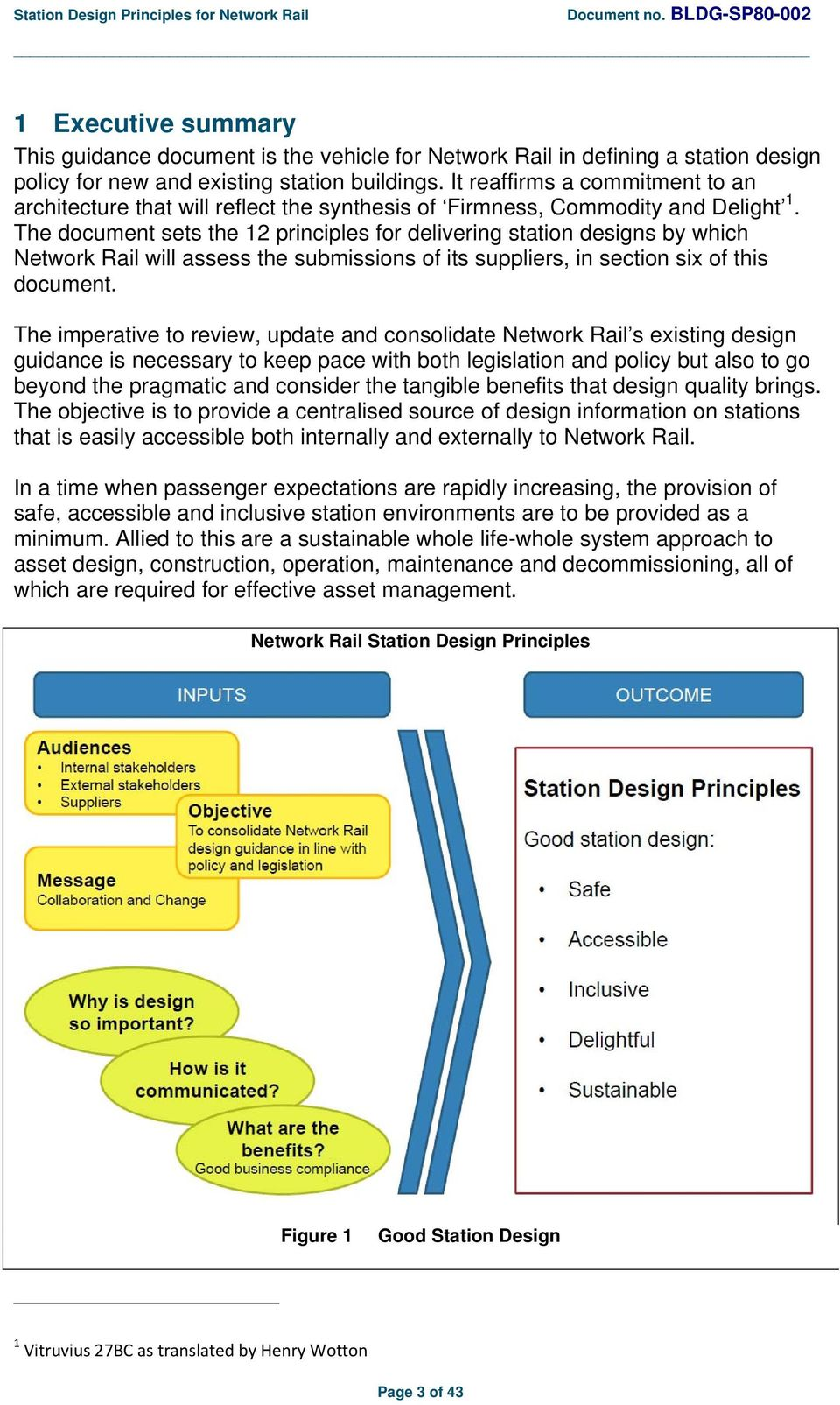 The document sets the 12 principles for delivering station designs by which Network Rail will assess the submissions of its suppliers, in section six of this document.