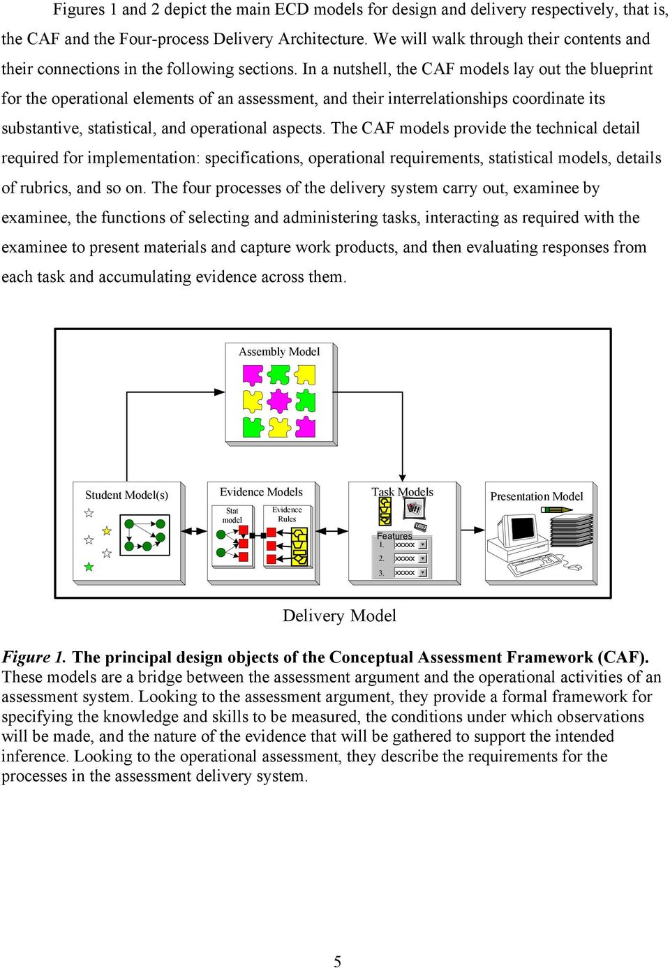 In a nutshell, the CAF models lay out the blueprint for the operational elements of an assessment, and their interrelationships coordinate its substantive, statistical, and operational aspects.