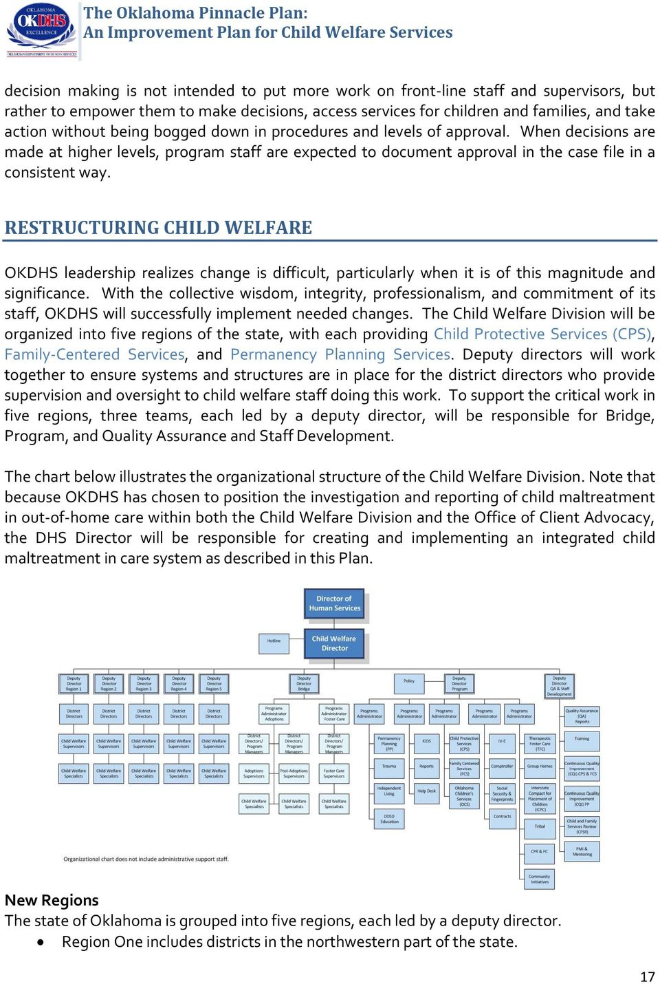 RESTRUCTURING CHILD WELFARE OKDHS leadership realizes change is difficult, particularly when it is of this magnitude and significance.