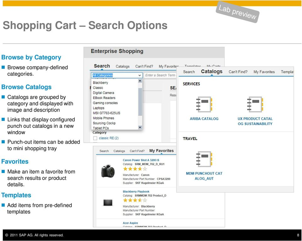 configured punch out catalogs in a new window Punch-out items can be added to mini shopping tray Favorites Make