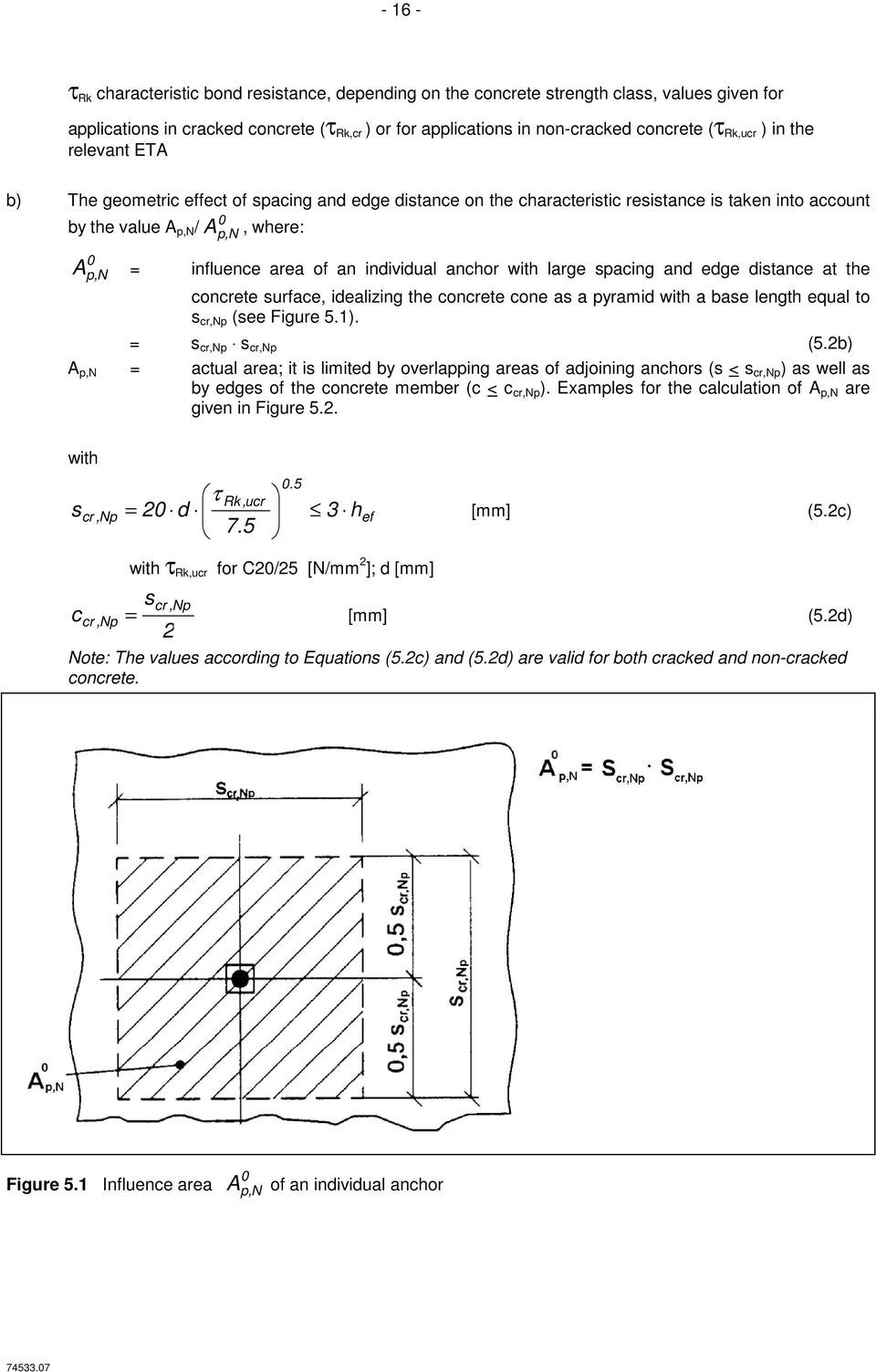 an individual anchor with large spacing and edge distance at the concrete surface, idealizing the concrete cone as a pyramid with a base length equal to s cr,np (see Figure 5.1). = s cr,np s cr,np (5.