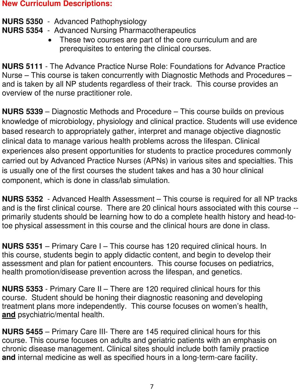 NURS 5111 - The Advance Practice Nurse Role: Foundations for Advance Practice Nurse This course is taken concurrently with Diagnostic Methods and Procedures and is taken by all NP students regardless