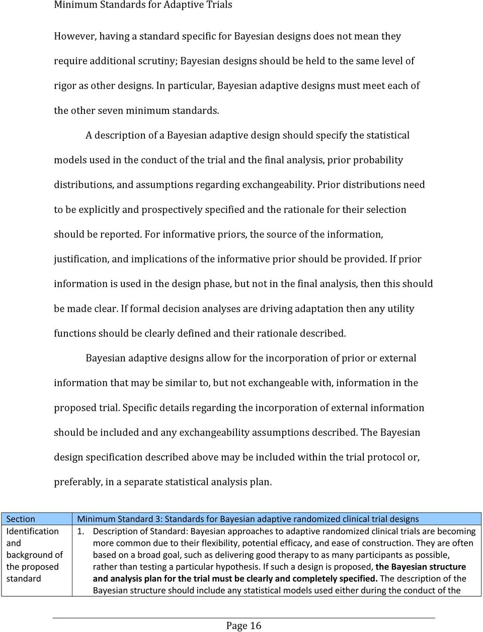 A description of a Bayesian adaptive design should specify the statistical models used in the conduct of the trial and the final analysis, prior probability distributions, and assumptions regarding