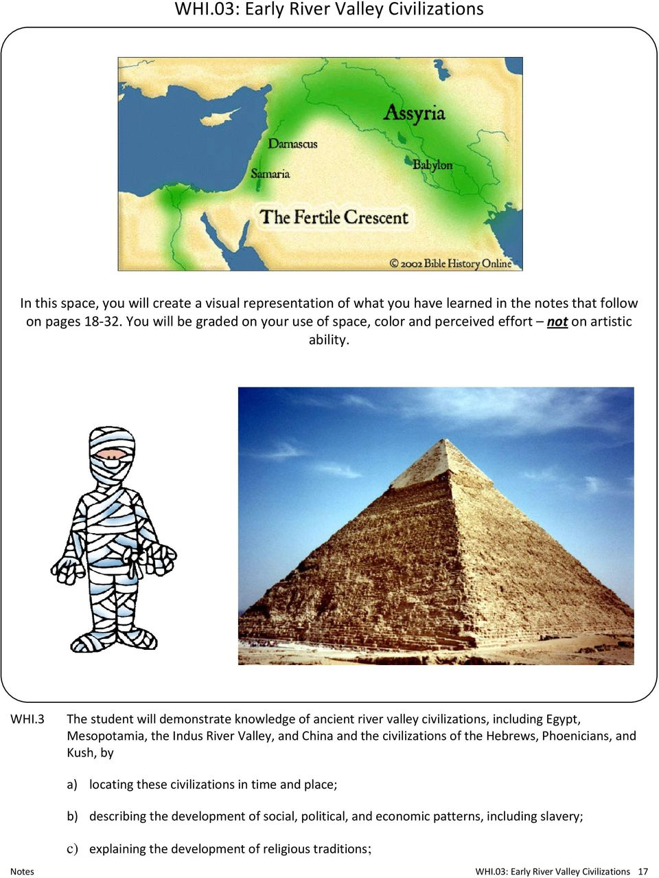 3 The student will demonstrate knowledge of ancient river valley civilizations, including Egypt, Mesopotamia, the Indus River Valley, and China and the civilizations of the