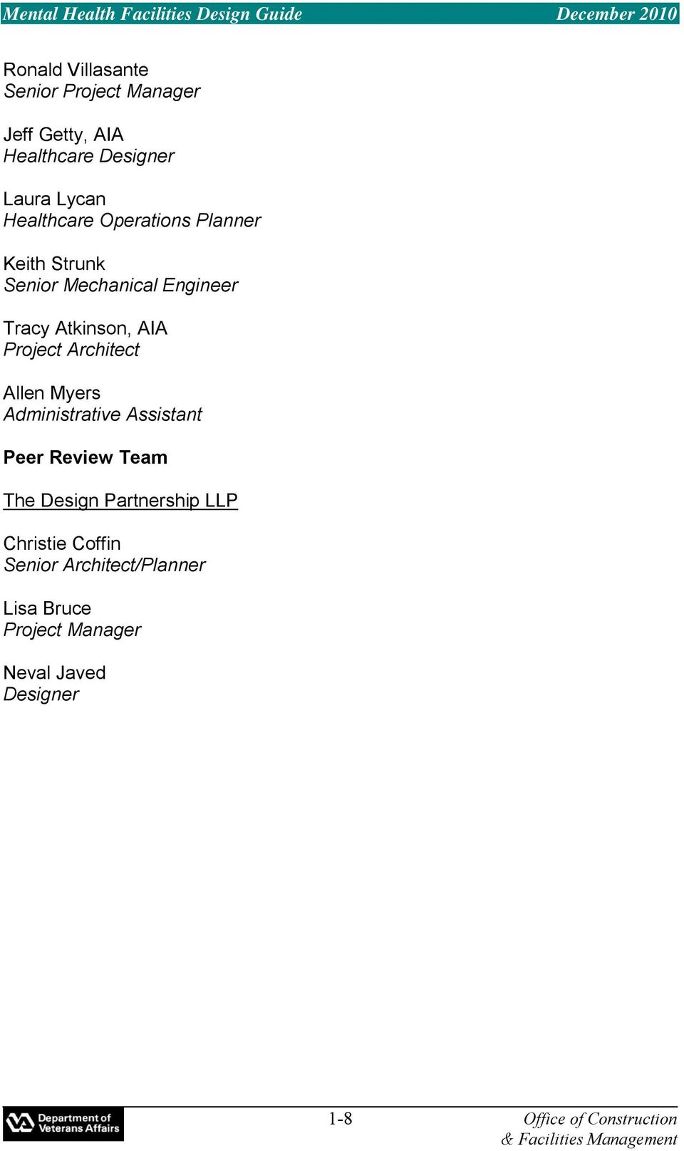 Architect Allen Myers Administrative Assistant Peer Review Team The Design Partnership LLP