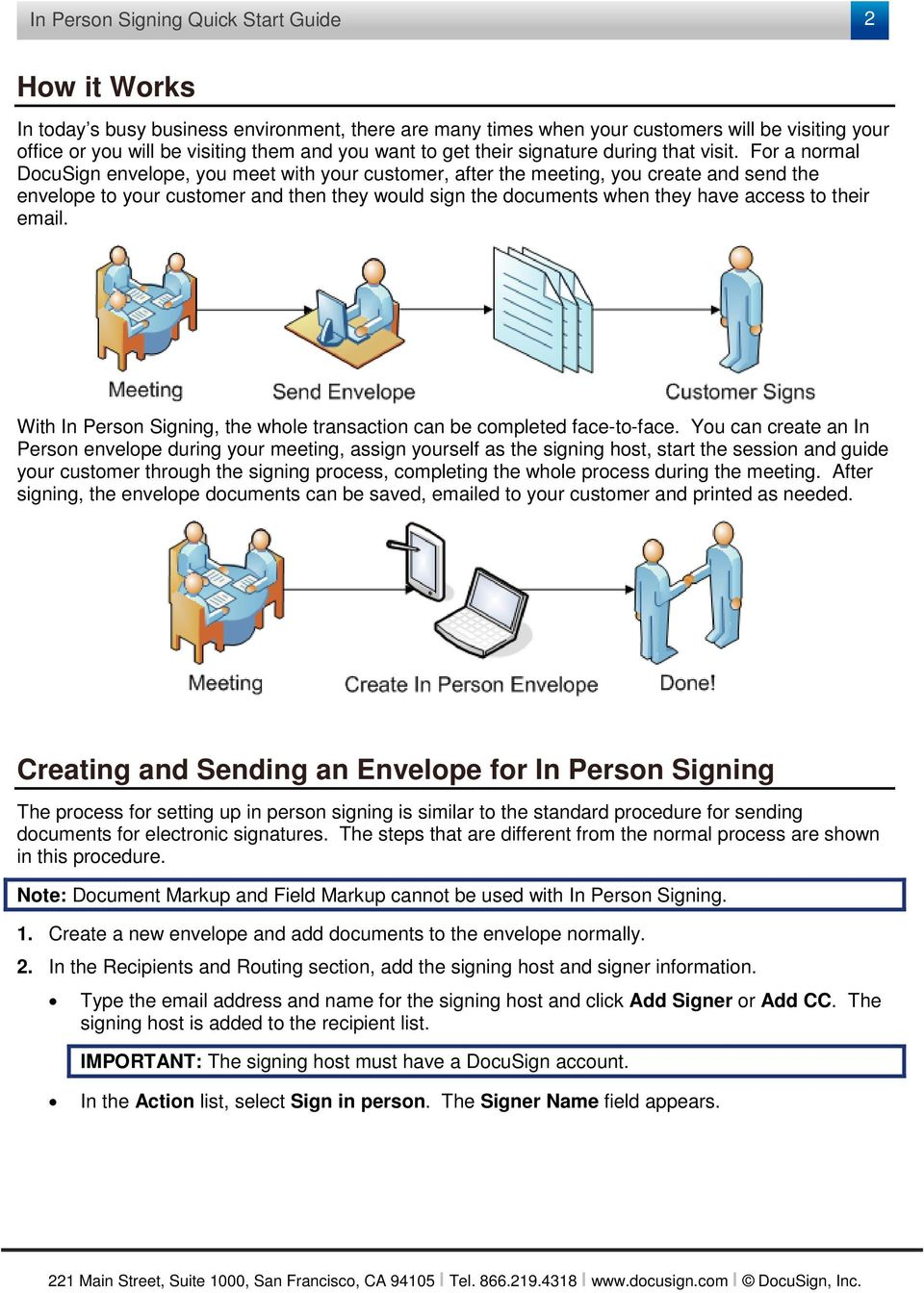 For a normal DocuSign envelope, you meet with your customer, after the meeting, you create and send the envelope to your customer and then they would sign the documents when they have access to their