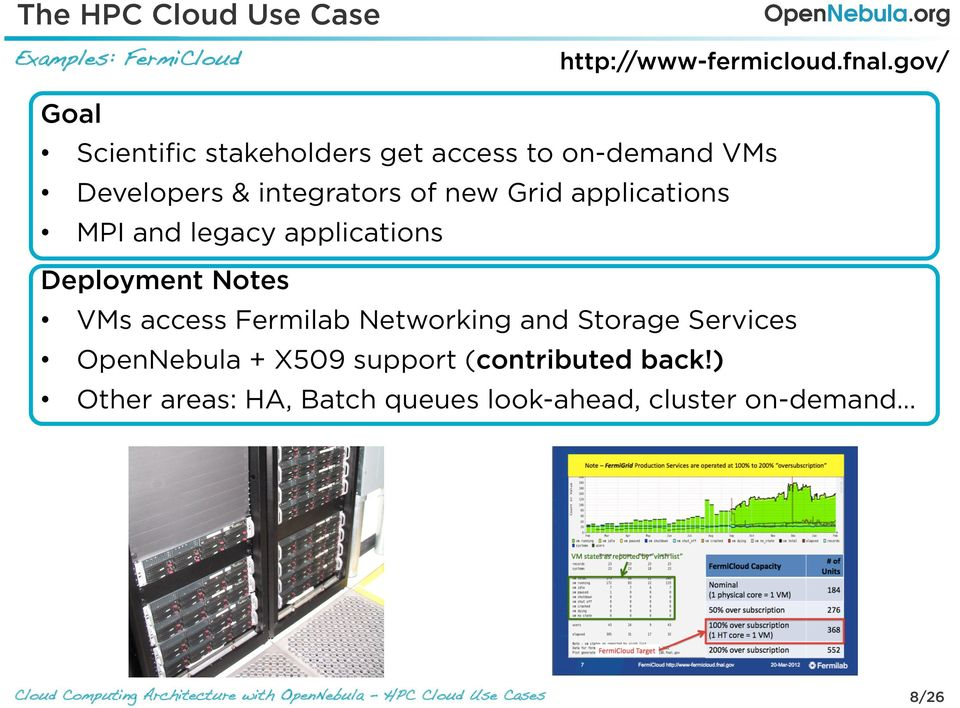 Grid applications MPI and legacy applications Deployment Notes VMs access Fermilab Networking and
