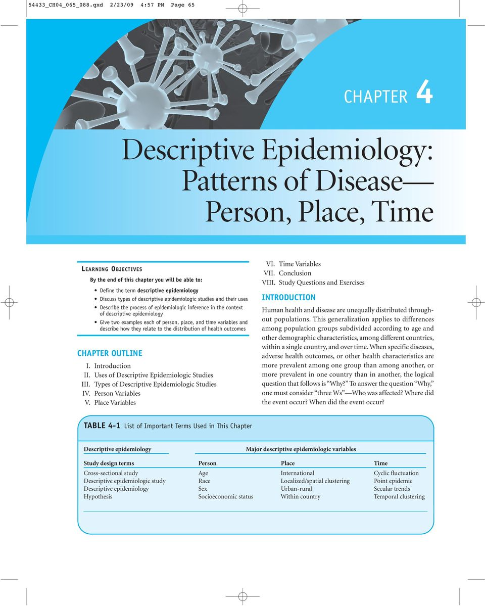 their uses Describe the process of epidemiologic inference in the context of descriptive epidemiology Give two examples each of person, place, and time variables and describe how they relate to the