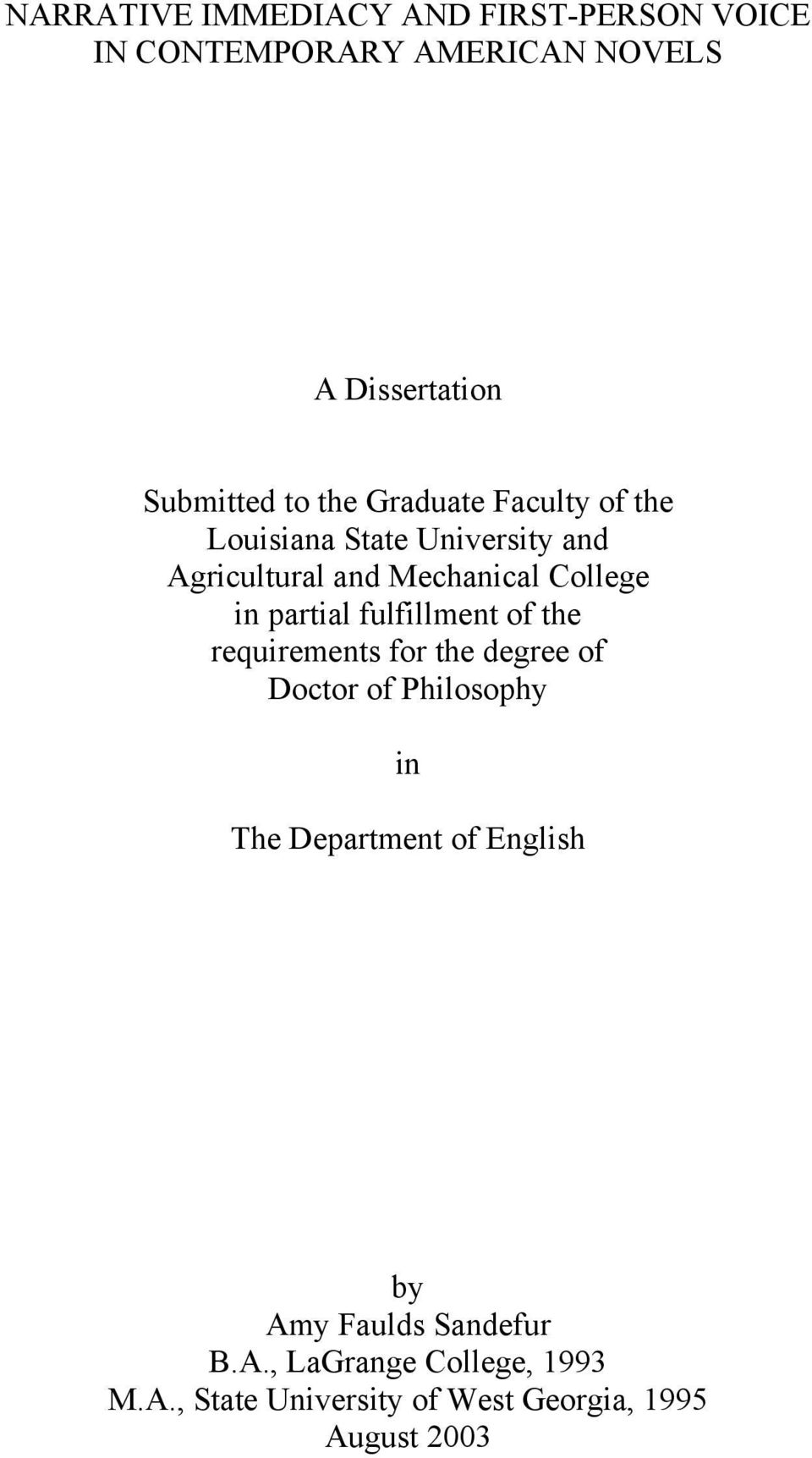 partial fulfillment of the requirements for the degree of Doctor of Philosophy in The Department of
