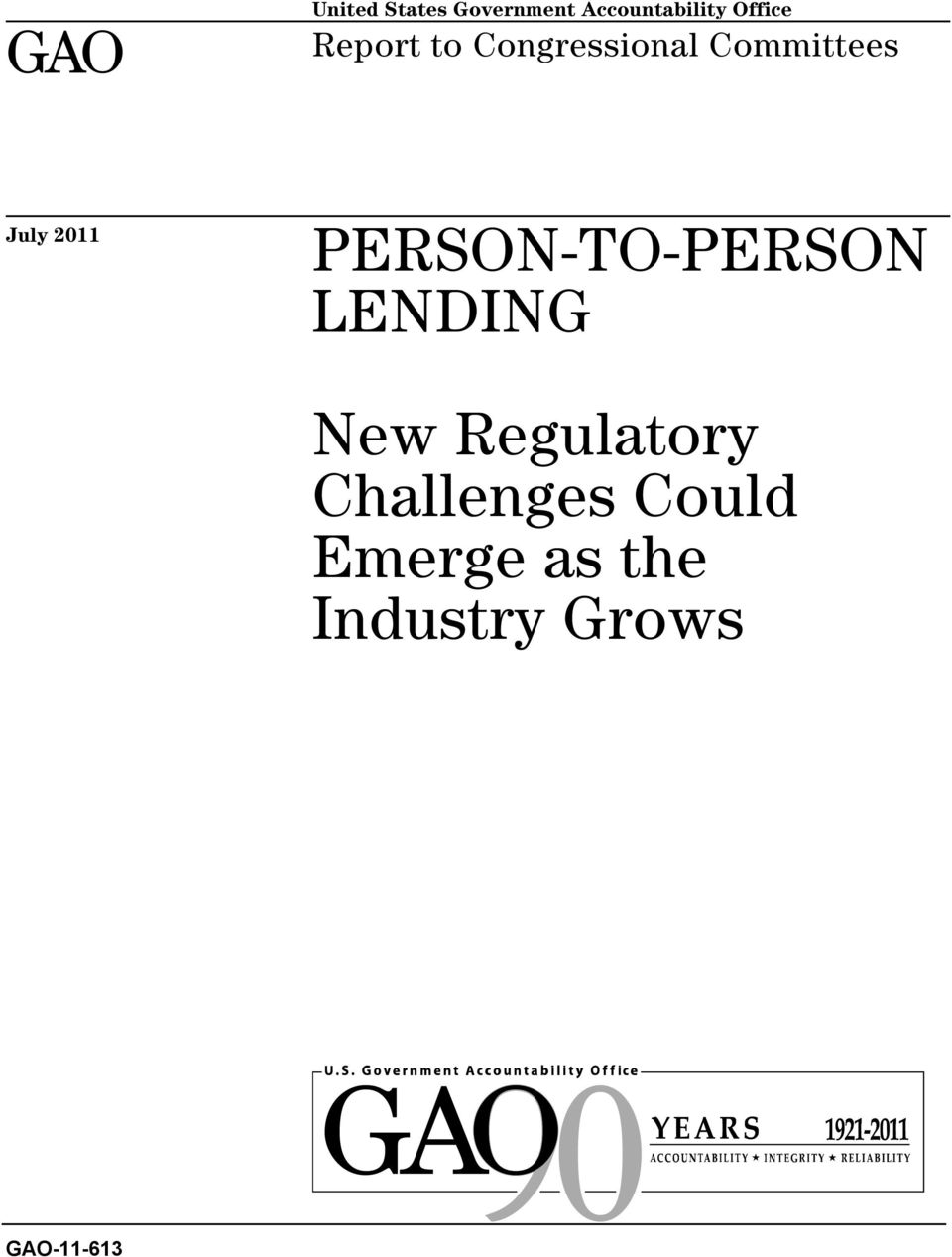 2011 PERSON-TO-PERSON LENDING New Regulatory