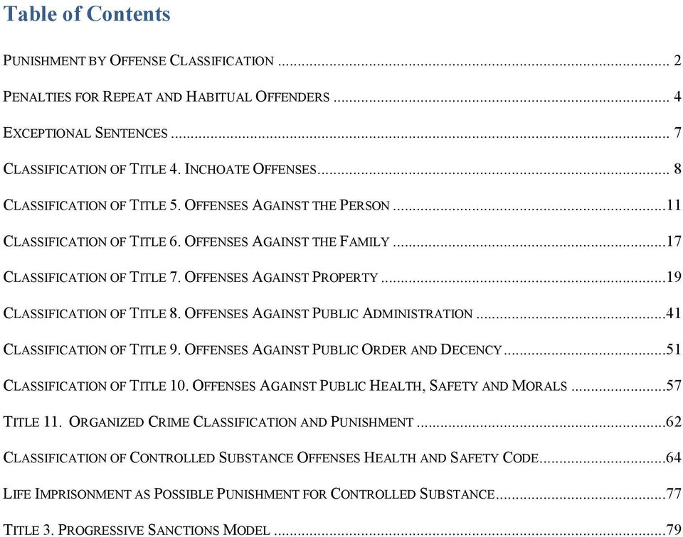 ..19 CLASSIFICATION OF TITLE 8. OFFENSES AGAINST PUBLIC ADMINISTRATION...41 CLASSIFICATION OF TITLE 9. OFFENSES AGAINST PUBLIC ORDER AND DECENCY...51 CLASSIFICATION OF TITLE 10.