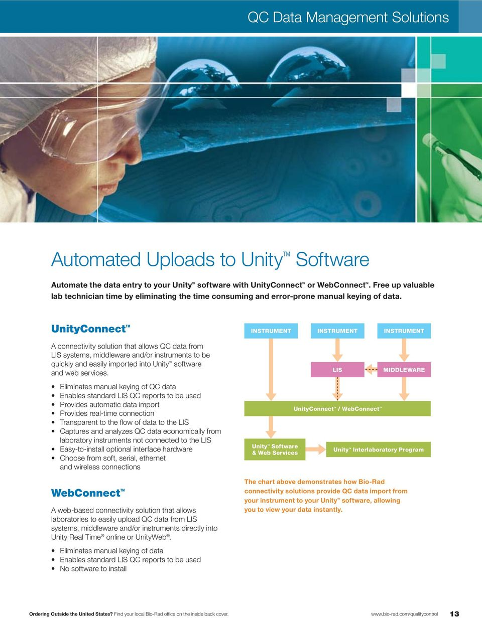 UnityConnect instrument instrument instrument A connectivity solution that allows QC data from LIS systems, middleware and/or instruments to be quickly and easily imported into Unity software and web