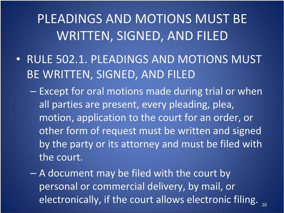 every pleading, plea, motion, application to the court for an order, or other form of request must be written and signed by the