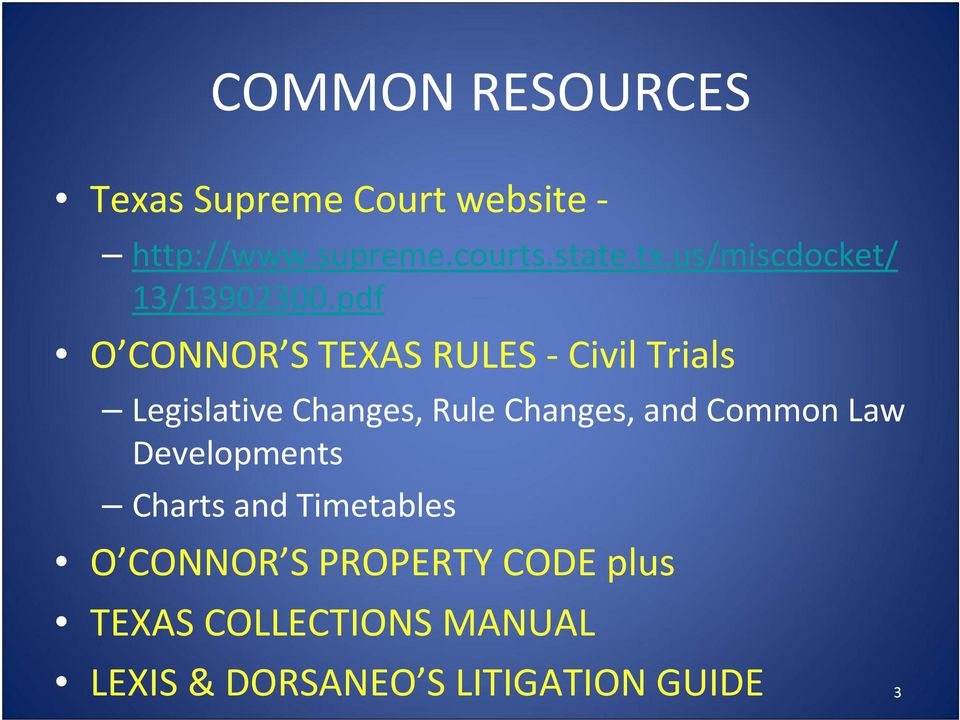 pdf O CONNOR S TEXAS RULES Civil Trials Legislative Changes, Rule Changes, and