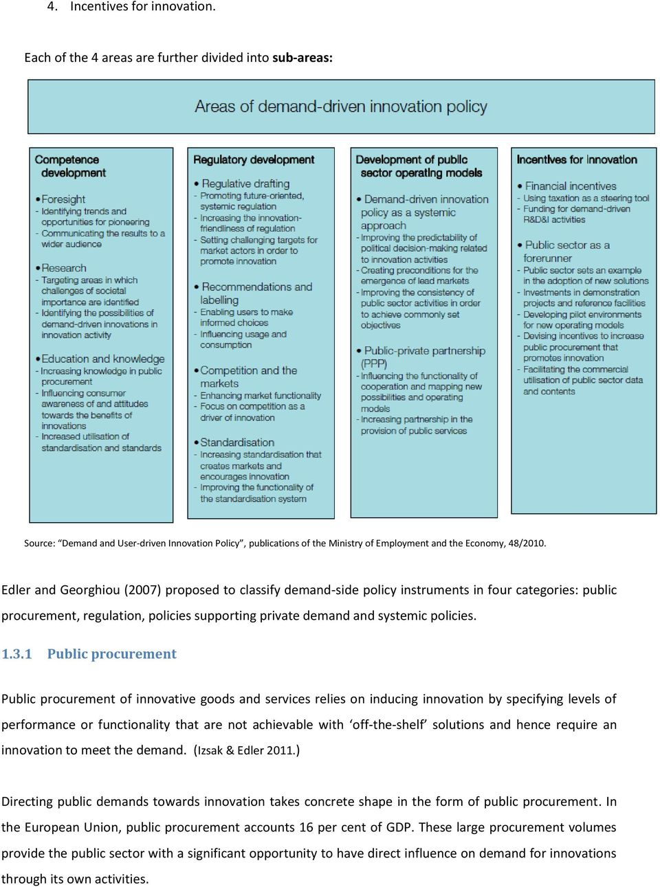 Edler and Georghiou (2007) proposed to classify demand-side policy instruments in four categories: public procurement, regulation, policies supporting private demand and systemic policies. 1.3.
