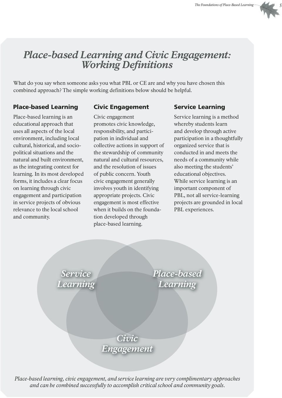 Place-based Learning Place-based learning is an educational approach that uses all aspects of the local environment, including local cultural, historical, and sociopolitical situations and the