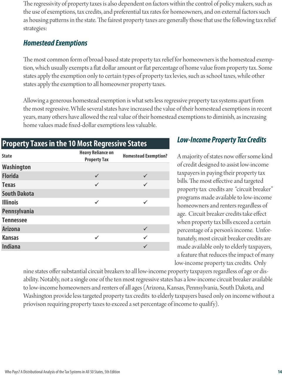 The fairest property taxes are generally those that use the following tax relief strategies: Homestead Exemptions The most common form of broad-based state property tax relief for homeowners is the