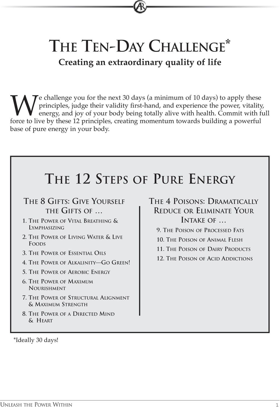 Commit with full force to live by these 12 principles, creating momentum towards building a powerful base of pure energy in your body.
