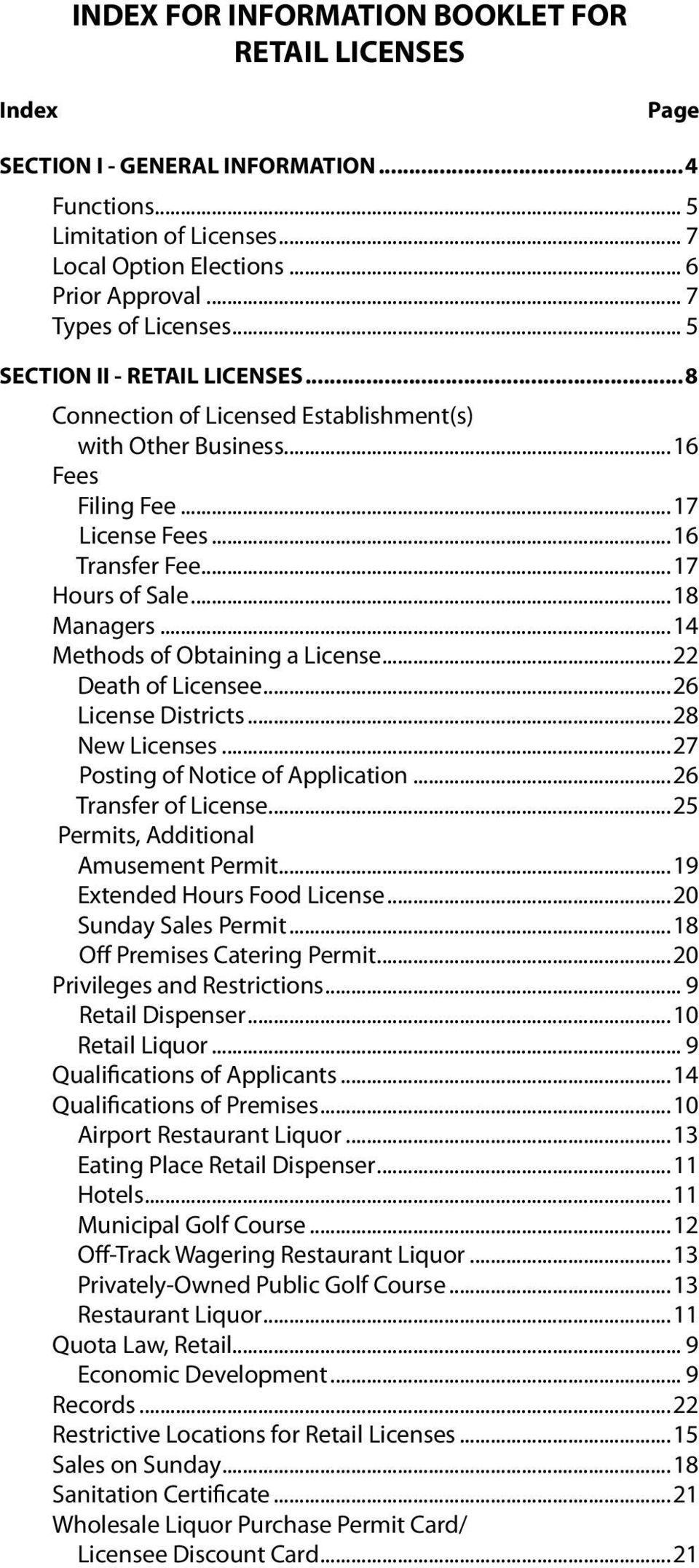 ..18 Managers...14 Methods of Obtaining a License...22 Death of Licensee...26 License Districts...28 New Licenses...27. Posting of Notice of Application...26 Transfer of License.