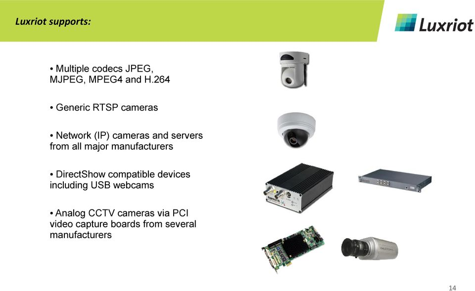 major manufacturers DirectShow compatible devices including USB