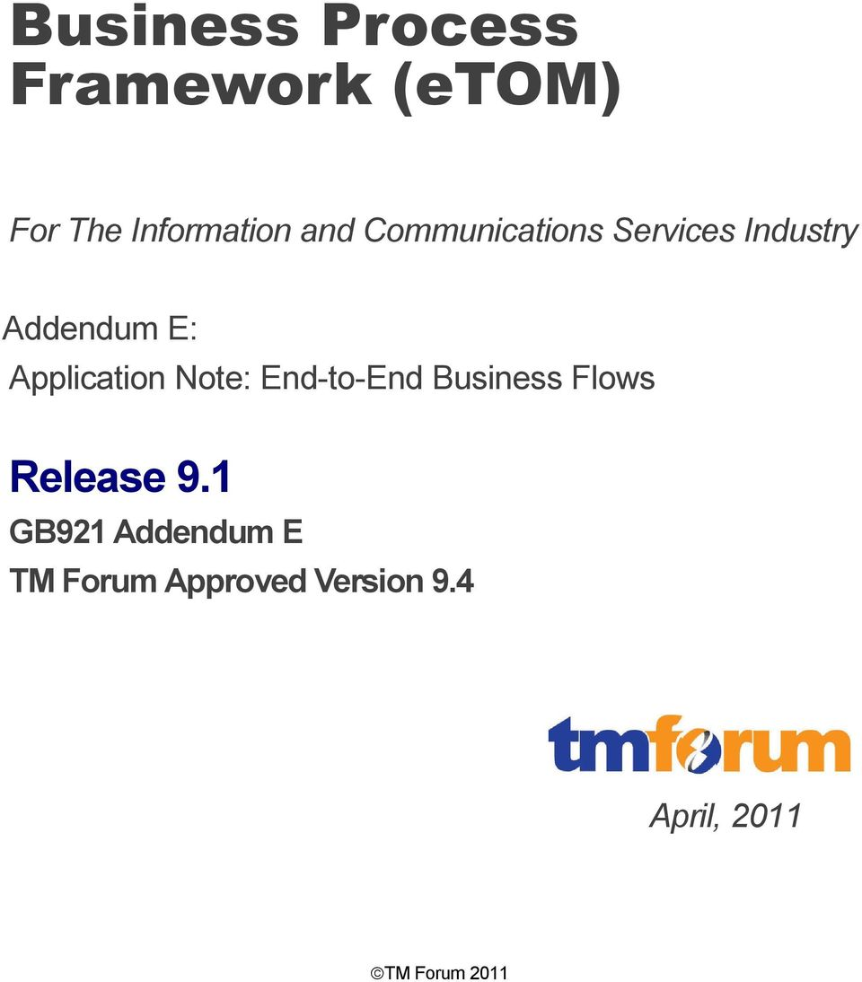 Note: End-to-End Business Flows Release 9.