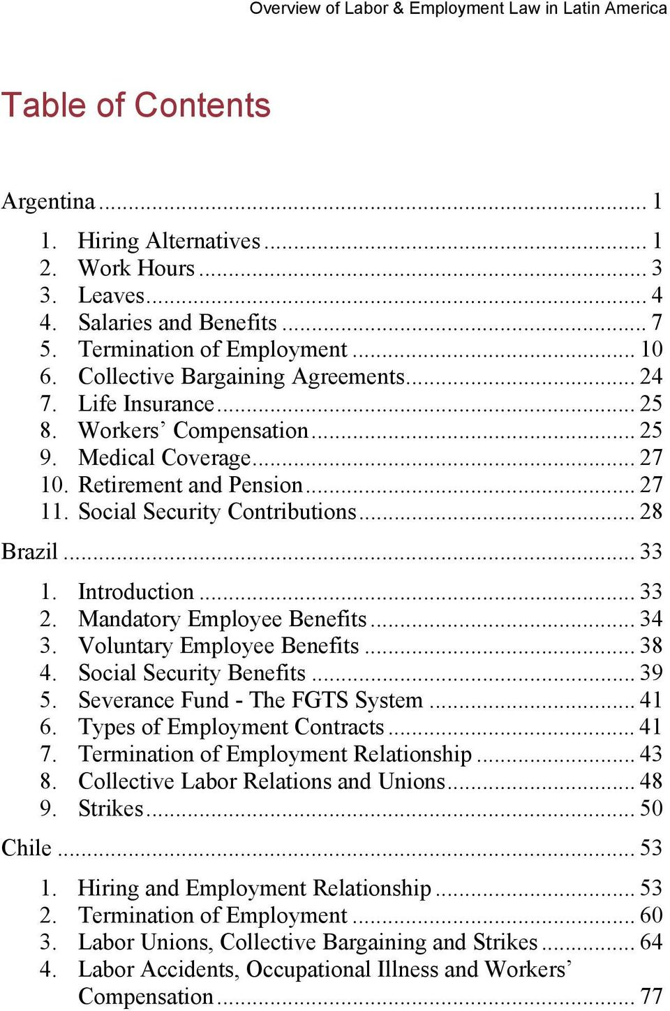 Overview of Labor & Employment Law in Latin America - PDF