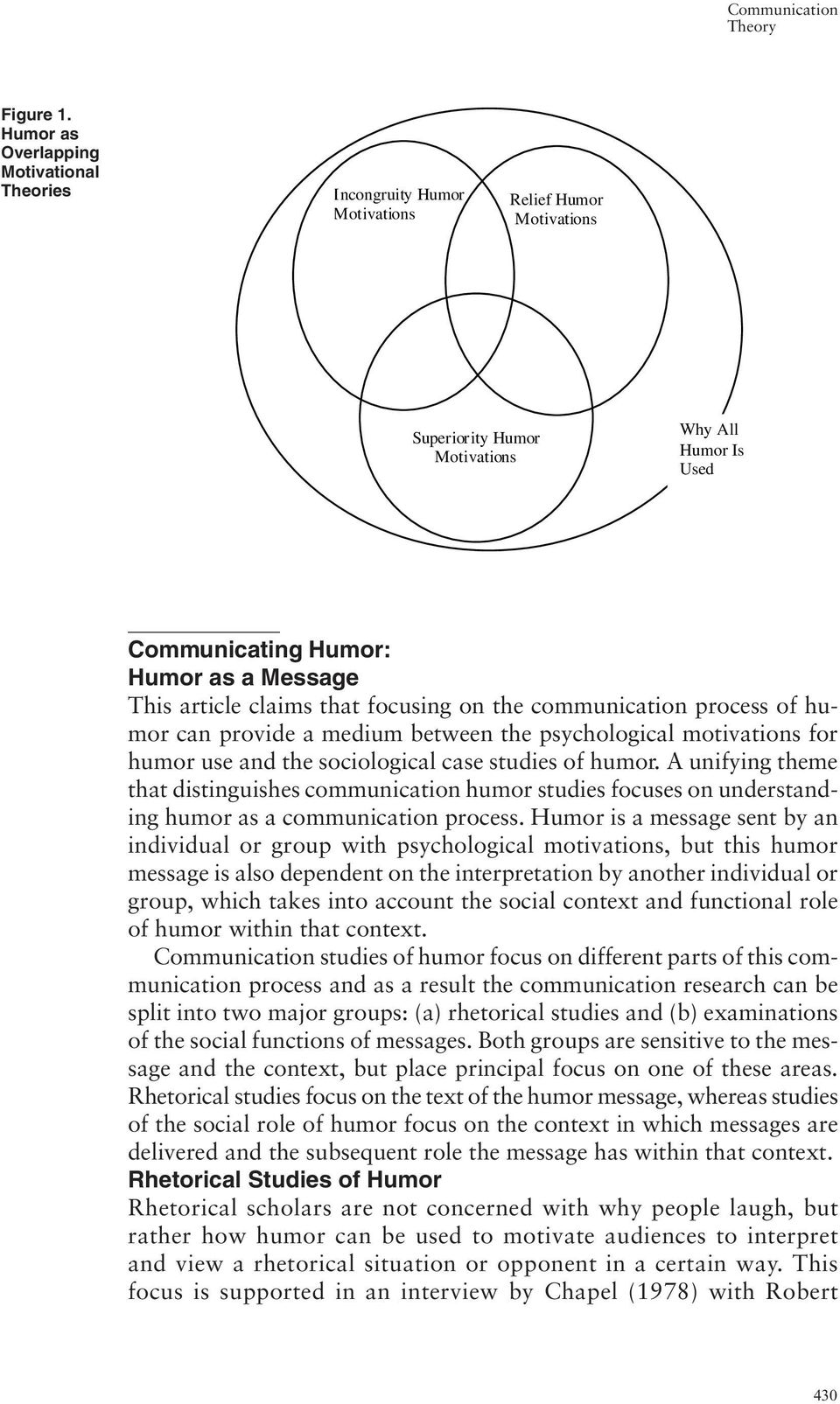 article claims that focusing on the communication process of humor can provide a medium between the psychological motivations for humor use and the sociological case studies of humor.
