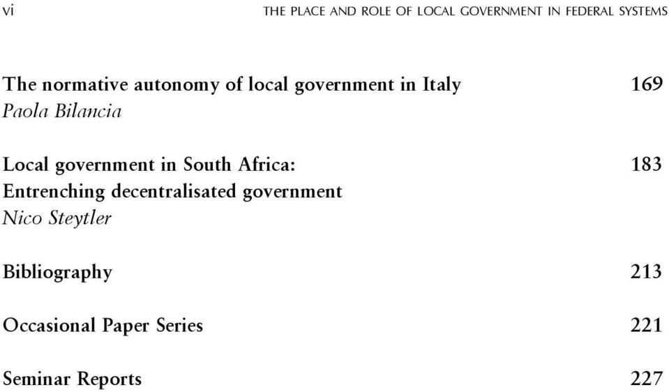 Local government in South Africa: 183 Entrenching decentralisated