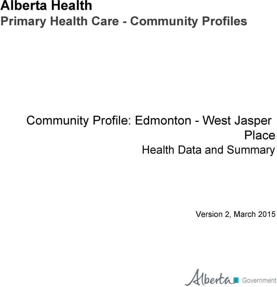 Profile: Edmonton - West Jasper