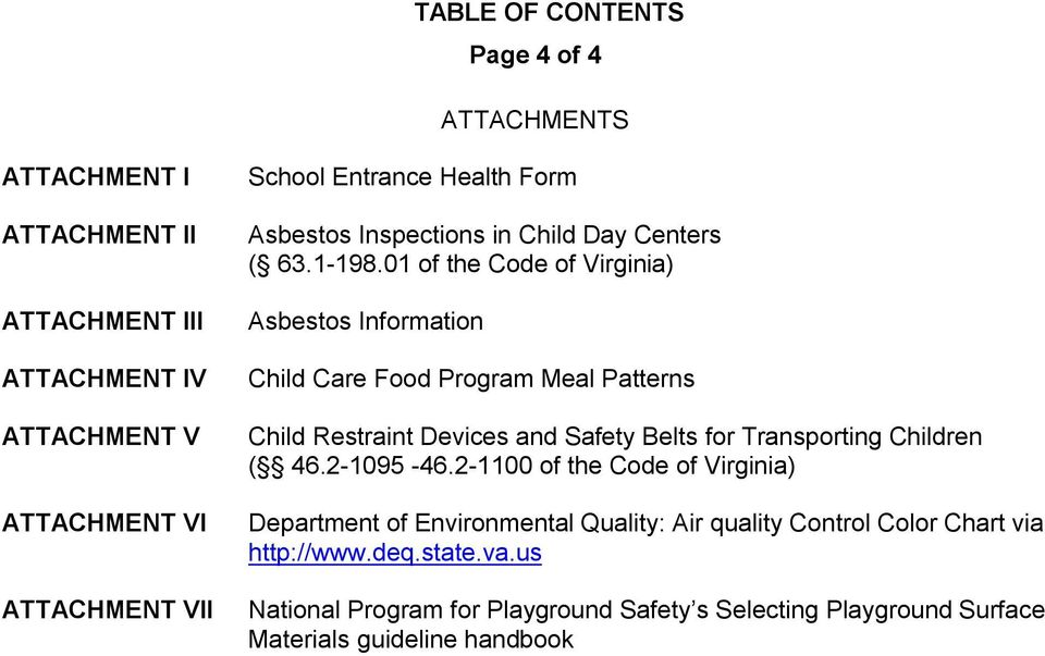 01 of the Code of Virginia) Asbestos Information Child Care Food Program Meal Patterns Child Restraint Devices and Safety Belts for Transporting Children (