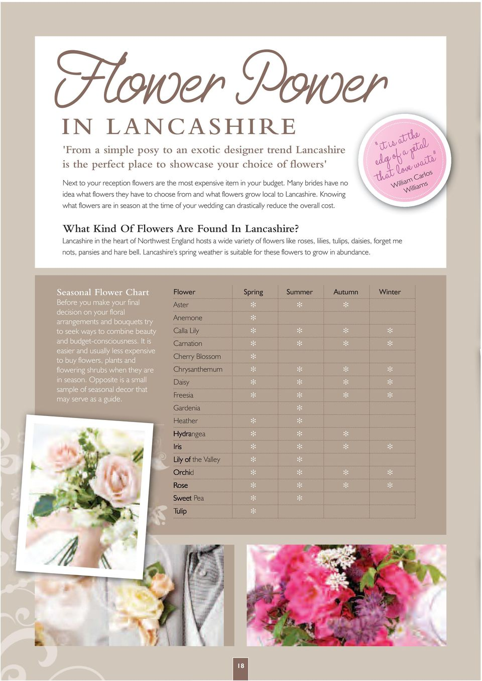 Knowing what flowers are in season at the time of your wedding can drastically reduce the overall cost. What Kind Of Flowers Are Found In Lancashire?