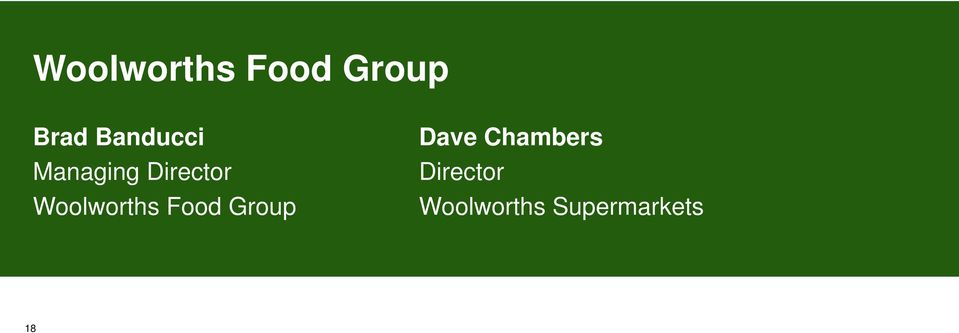 Managing Director Woolworths