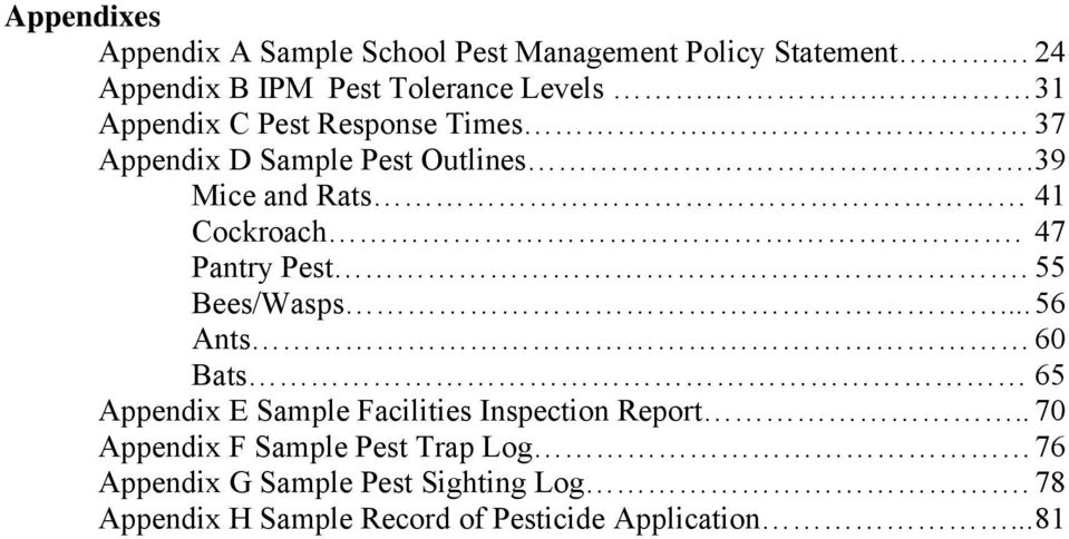 47 Pantry Pest. 55 Bees/Wasps... 56 Ants 60 Bats 65 Appendix E Sample Facilities Inspection Report.