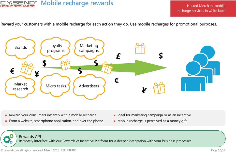 Brands Loyalty programs Marketing campaigns Market research Micro tasks Advertisers Reward your consumers instantly with a mobile recharge From a website, smartphone