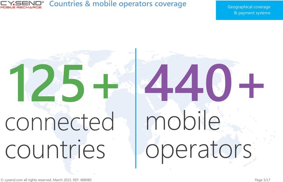 connected countries 440+ mobile operators