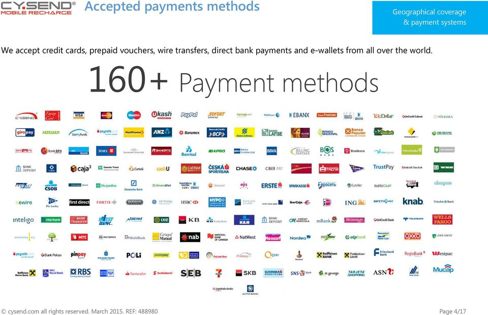 bank payments and e-wallets from all over the world.