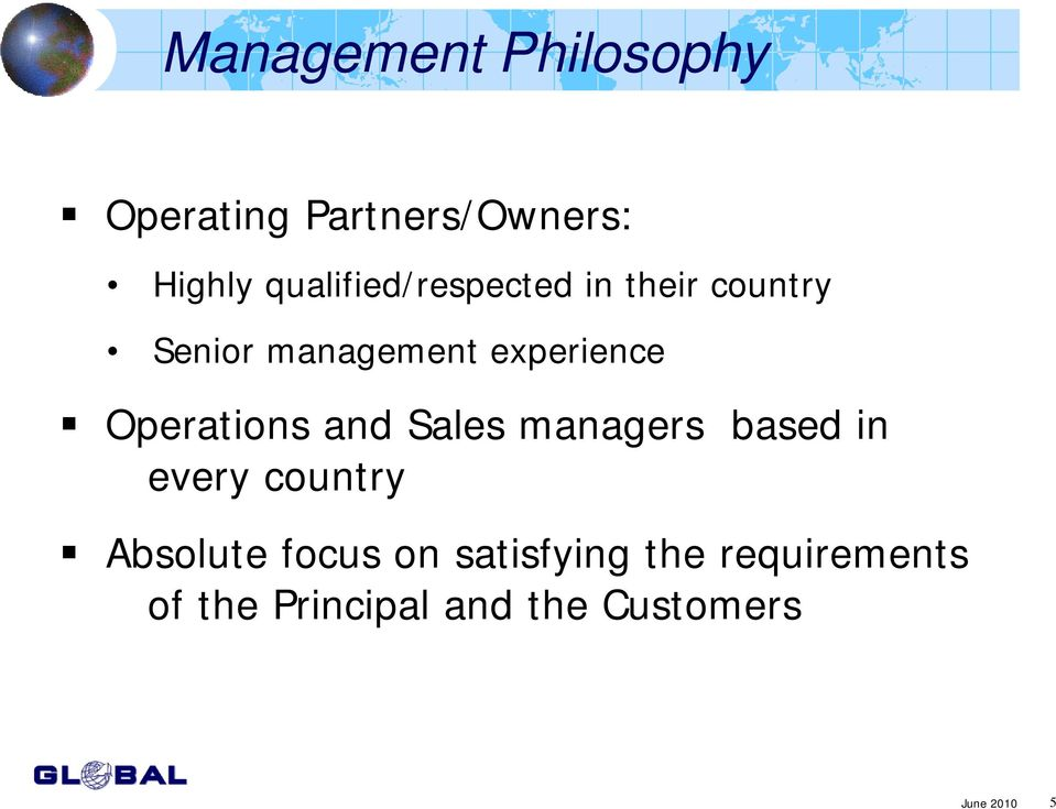 Operations and Sales managers based in every country Absolute