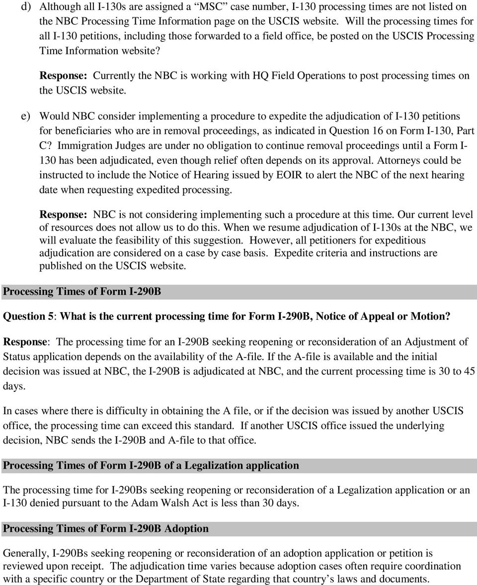 Questions and answers pdf response currently the nbc is working with hq field operations to post processing times on falaconquin