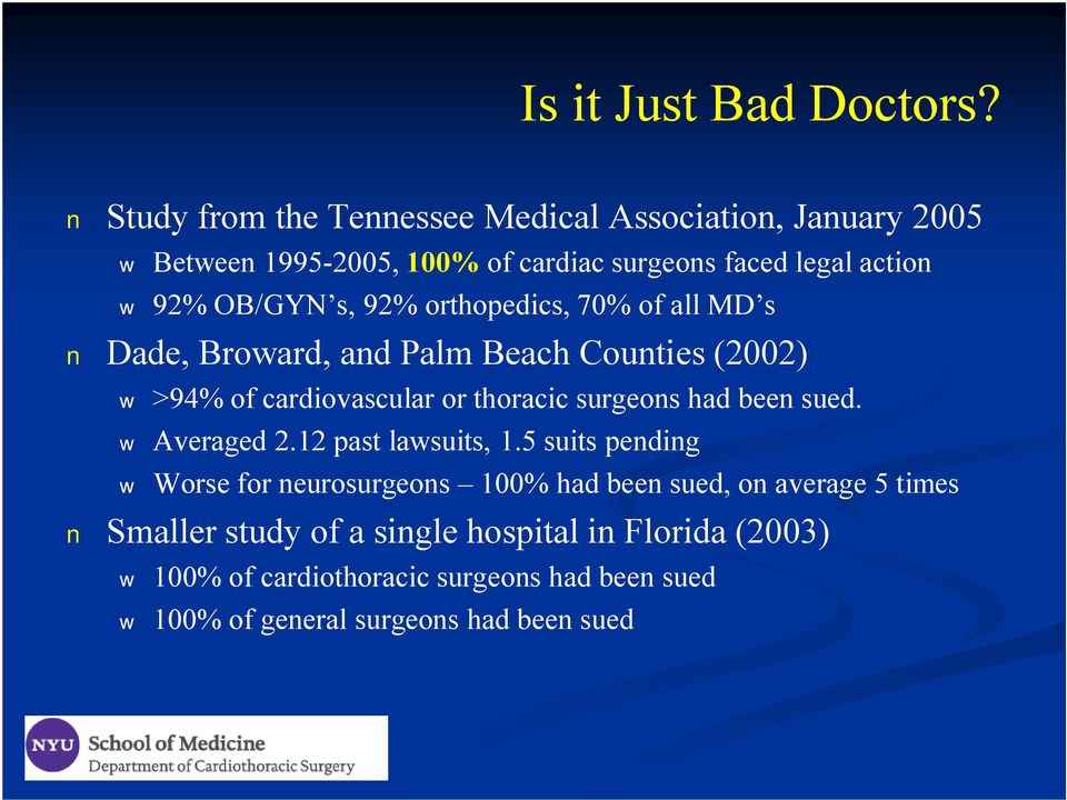 92% orthopedics, 70% of all MD s Dade, Broward, and Palm Beach Counties (2002) >94% of cardiovascular or thoracic surgeons had been sued.