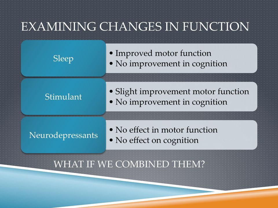 function No improvement in cognition Neurodepressants No effect