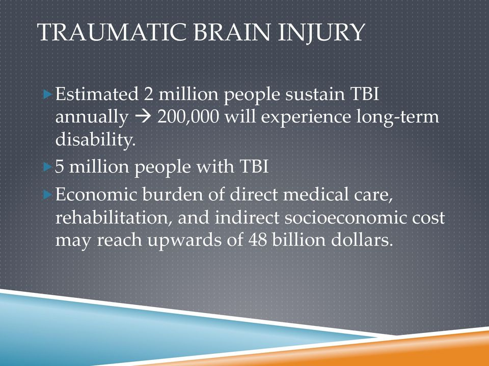 5 million people with TBI Economic burden of direct medical care,
